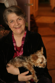 Photo of Barbara Sher holding her Yorkie.